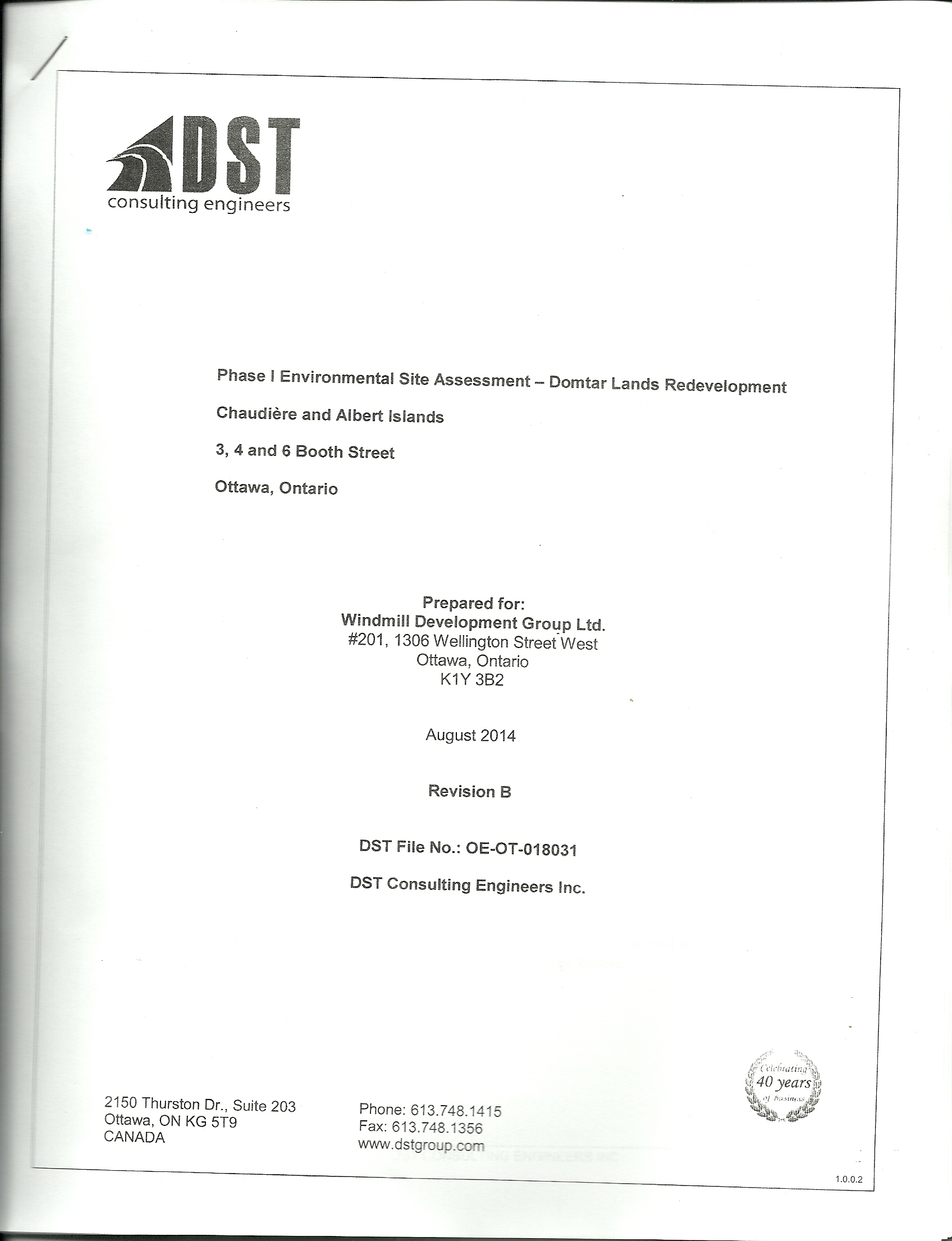 DST 441 page Enviromental Assessment 2014